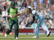 File photo: England's Jofra Archer celebrates taking the wicket of South Africa's captain Faf du Plessis, left, during the World Cup cricket match between England and South Africa at The Oval in London, Thursday, May 30, 2019. (AP/PTI)