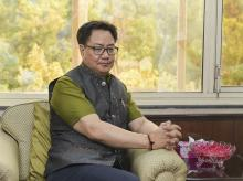 Newly appointed Minister of State (Independent Charge) Kiren Rijiju takes charge of Ministry of Youth Affairs and Sports; and Minister of State in the Ministry of Minority Affairs, in New Delhi