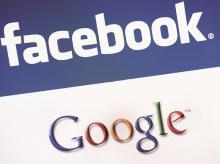 Facebook, Facebook logo, Google, Google logo