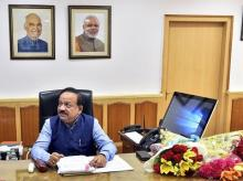 Harsh Vardhan takes charge as Health Minister. Photo: PTI