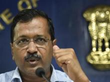 Delhi Chief Minister Arvind Kejriwal addresses a press conference at Delhi Secretariat, in New Delhi