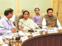 Union Finance Minister Nirmala Sitharaman and MoS for Finance Anurag Thakur (right) during a pre-budget meeting on Tuesday.  Both ministers held consultations with different stakeholder groups from industry, trade and services