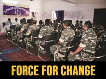 Officer Yuvraj Kumar speaks to the men on gender issues in the Gaya battalion. Photos: Sweta Daga