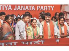 Mukul Roy (2nd from left), once Mamata Banerjee's closest aide, has been on the job of emptying out the TMC since he joined the BJP