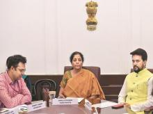 Finance Minister Nirmala Sitharaman and MoS Finance Anurag Thakur (right) at a meeting in New Delhi on Thursday