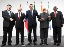 Osaka: Prime Minister Narendra Modi with the leaders of BRICS nations, in Osaka, Japan, Friday, June 28, 2019. (PIB/PTI Photo)