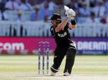 Martin Guptill playes a shot against Australia