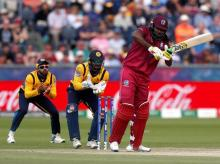 Chris Gayle while playing a shot against Sri Lanka