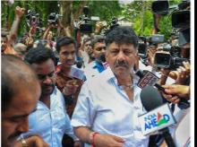 Bengaluru: Congress leader D K Shivakumar arrives to attend a breakfast meeting of Congress party ministers and MLA's at the deputy CM Parameshwara's residence in Bengaluru, Monday, July 8, 2019. (PTI Photo/Shailendra Bhojak