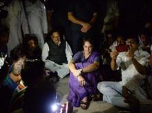 Mirzapur: Congress General Secretary Priyanka Gandhi Vadra sat on a dharna  at Chunar Fort Guest House , after she was placed under detention when she was on her way to Sonbhadra, where 10 people were gunned down this week. Photo: PTI