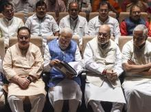 Prime Minister Narendra Modi, Amit Shah, BJP Working President JP Nadda and other members during the BJP Parliamentary Party meeting at Parliament House, in New Delhi. Photo: PTI