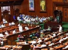 Former CM & BJP State President BS Yeduyurappa argues with former CM and Congress-JD(S) coordination committee Chairman Siddaramaiah and Minister DK Shivakumar during Assembly Session at Vidhana Soudha, in Bengaluru   Photo: PTI