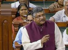 Union Law and Justice Minister Ravi Shankar Prasad speaks in the Rajya Sabha during the Budget Session of Parliament, in New Delhi. Photo: RSTV/PTI