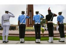 Tri-services personnel pay homage at National War Memorial on the occasion of Kargil Diwas, in New Delhi
