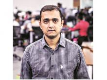 Jaydeep Barman, 45, runs Rebel Foods from an office park in the Bhandup West area of Mumbai and grew up in the food-mad city of Kolkata Photo: Bloomberg