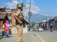 A CRPF jawan stands guard as situation in Kashmir continues to be tense and uncertain, in Srinagar, Sunday, Aug. 4, 2019. There are apperhenensions of prolonged law and order problem in the Valley | Photo: PTI