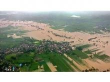 An aerial view of a flooded area in Kolhapur district