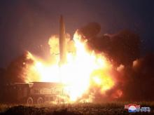 Undated: This Tuesday, Aug. 6, 2019, photo provided by the North Korean government shows what it says the launch of a new-type tactical guided missile at an airfield in the western area of North Korea. Independent journalists were not given access to