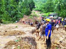 Malappuram: Rescue operation underway at an area affected by landslide due to heavy rain, in Malappuram district, Saturday, August 10, 2019. Photo: PTI
