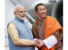 PM Narendra Modi being welcomed on his arrival at Paro International Airport in Bhutan   PTI