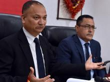 Gopal Singh Gusain ED, Union Bank of India and Brajeshwar Sharma GM HR at a press conference on Consultative & Ideation Process at Regional Level with all Branch Heads in Mumbai