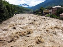 Kullu: A view of the swollen Beas river following heavy monsoon rain, in Kullu, Sunday, Aug 18, 2019. (PTI Photo)