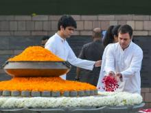 Congress leader Rahul Gandhi pays tribute to former prime minister Rajiv Gandhi on his birth anniversary at Veer Bhumi, in New Delhi