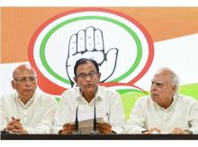Congress leader P Chidambaram addressing a press conference with party leaders Kapil Sibal and Abhishek Singhvi at AICC HQ, in New Delhi on Wednesday | Photo: PTI