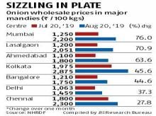 Onion prices rise by up to 76% on reduced supply from flood-hit states