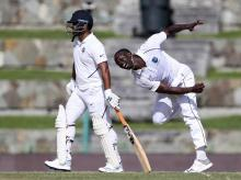 Kemar Roach during India vs West Indies 1st test