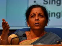 Union Minister for Finance and Corporate Affairs Nirmala Sitharaman during a press conference in Delhi (Photo- Sanjay K Sharma)