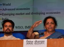 MoS Finance Anurag Thakur and FM Nirmala Sitaraman at a press confrence in New Delhi (Photo- Sanjay K Sharma)