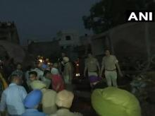 Gurdaspur: Rescue operations continue at fire-crackers factory in Batala where 16 people have died in a fire. 10 people injured