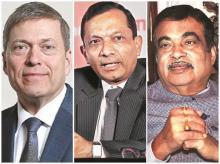 Guenter Butschek, CEO & MD, Tata Motors; Pawan Goenka, MD, M&M; Nitin Gadkari, Union minister for road transport, highways