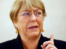 UN High Commissioner for Human Rights Michelle Bachelet attends a session of the Human Rights Council at the United Nations in Geneva Photo: Reuters