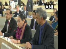 Secretary (East) MEA at UNHRC Photo: ANI Twitter