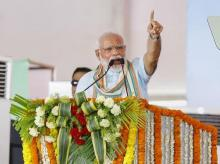 Prime Minister Narendra Modi addresses during launch of National Animal Disease Control Programme for eradication of Foot and Mouth Disease and Brucellosis in livestock, in Mathura. Photo: PTI
