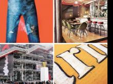(Clockwise from top left) Laser distressing done on jeans; restaurants with chic distressed architecture; distressed lettering on wood; the Centre Pompidou library in Paris