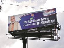 Billboard of Howdy, Modi! event, which will be held on Sunday, a day before Prime Minister Narendra Modi meets top executives of US firms