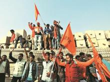Ram janmabhoomi supporters showing their support for Ram temple