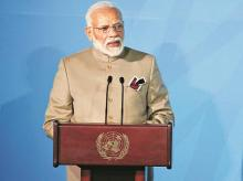 PM Narendra Modi addresses the Climate Action Summit in the United Nations General Assembly, on Monday  photo:AP/PTI