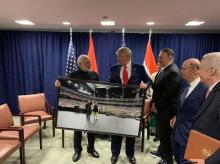 PM Narendra Modi presented a framed photograph from the Howdy Modi event to US President Donald Trump | Credits: @ANI