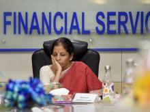 New Delhi: Finance Minister Nirmala Sitharaman after a meeting with the private sector banks, in New Delhi, Thursday, Sept. 26, 2019. (PTI Photo/Kamal Singh)