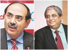 Romesh Sobti (left), MD and chief executive officer, IndusInd Bank | Aditya Puri, MD, HDFC Bank