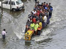 Residents rescued from flood affected Rajendra Nagar area following heavy monsoon rain, in Patna, Monday, Sept. 30, 2019. (PTI Photo)