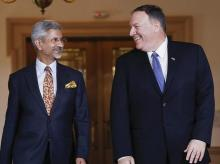 Washington: Secretary of State Mike Pompeo, right, walks out with Indian counterpart Subrahmanyam Jaishankar, left, at the US State Department in Washington, Monday, Sept. 30, 2019. AP/PTI