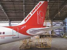 A livery of Gandhi inscribed on an Air India aircraft. Photo: Kamlesh Pednekar