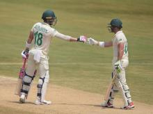 Visakhapatnam: South Africa's skipper Faf du Plessis and teammate Dean Elgar on the 3rd day of the 1st cricket test match against India Africa at Dr YS Rajasekhara Reddy ACA-VDCA Cricket Stadium, in Visakhapatnam, Friday, Oct. 4, 2019. (PTI Photo)