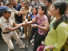 Mumbai: Police detain activists who were staging a protest against the tree-cutting, being carried out for the Metro car shed project, at Aarey colony in Mumbai, Saturday, Oct. 5, 2019. (PTI Photo/Mitesh Bhuvad) (