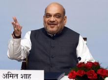 New Delhi: Union Home Minister Amit Shah gestures as he speaks during a meeting with probationers of the 2018 batch of Indian Police Service (IPS) at Maharashtra Sadan, in New Delhi, Monday, Oct. 7, 2019. (PTI Photo/Shahbaz Khan)(